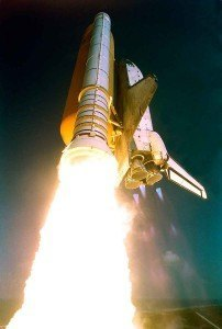 Space shuttle Atlantis taking off. Booster rockets!
