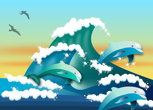 Cartoon dolphins and waves