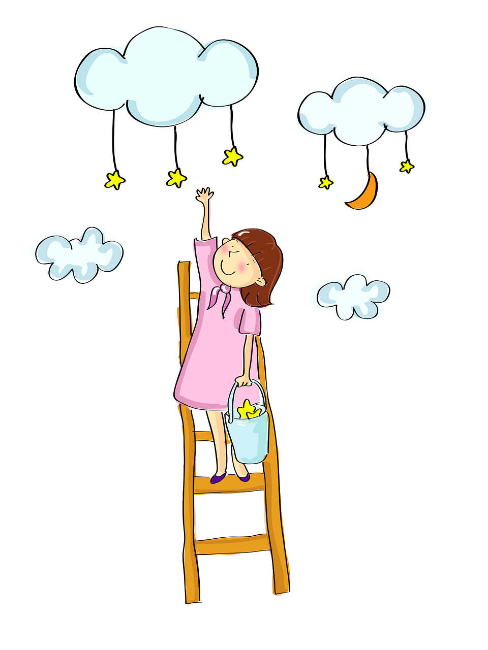Cartoon girl up ladder, reaching for stars