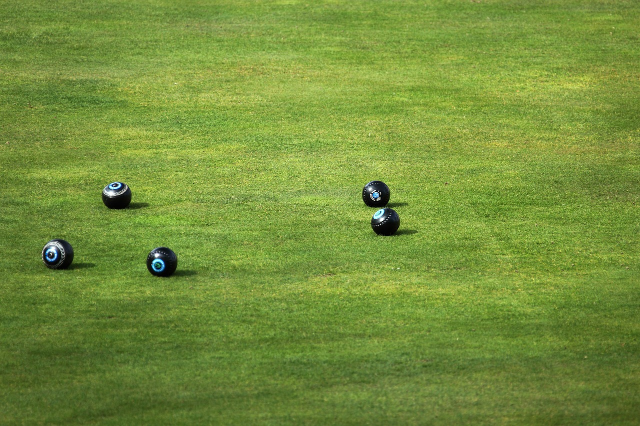 Bowling green with balls in position