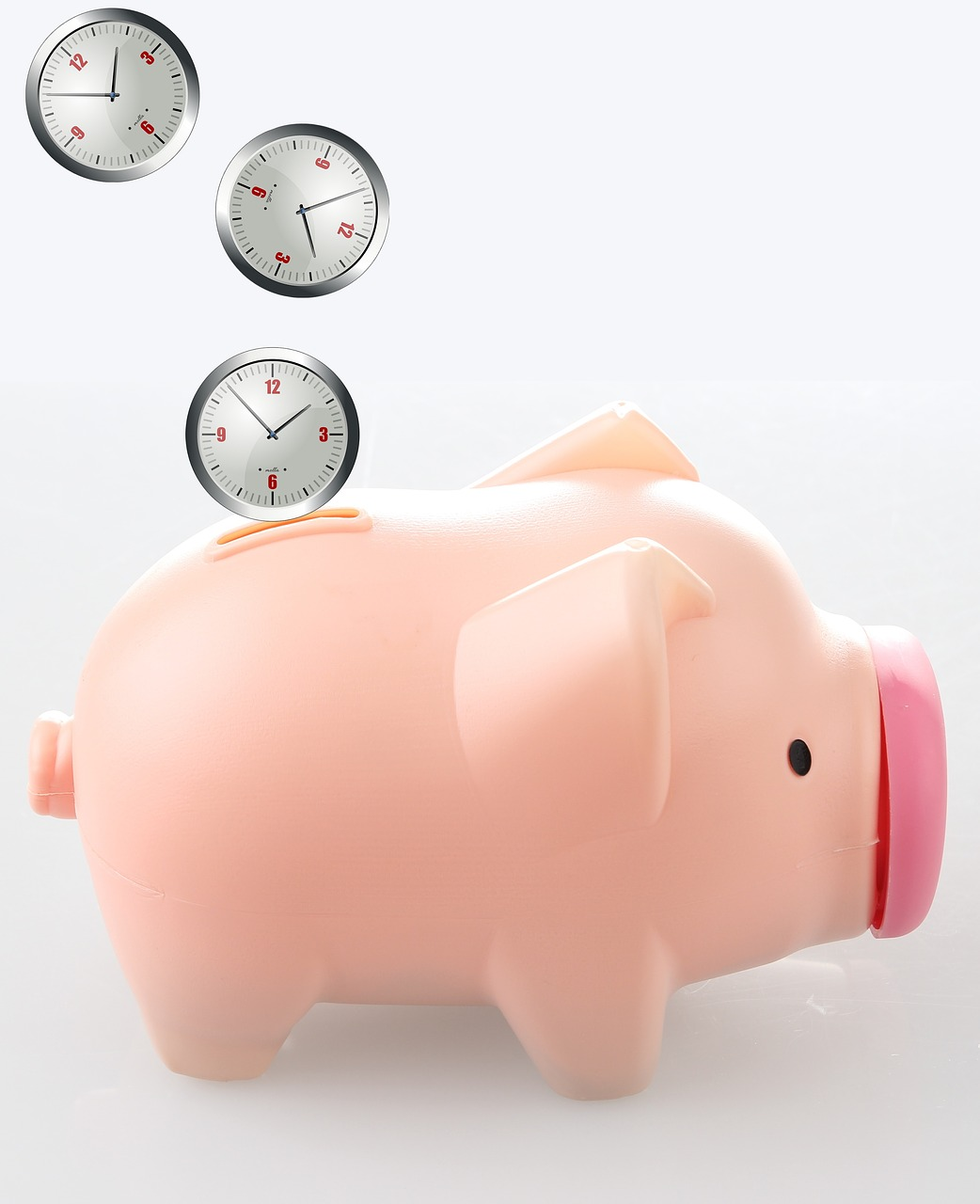 Clocks entering piggy bank slot