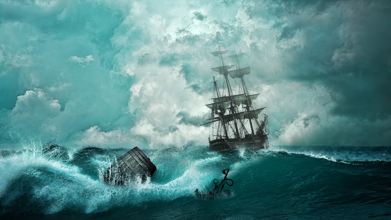 sailing ship on stormy sea