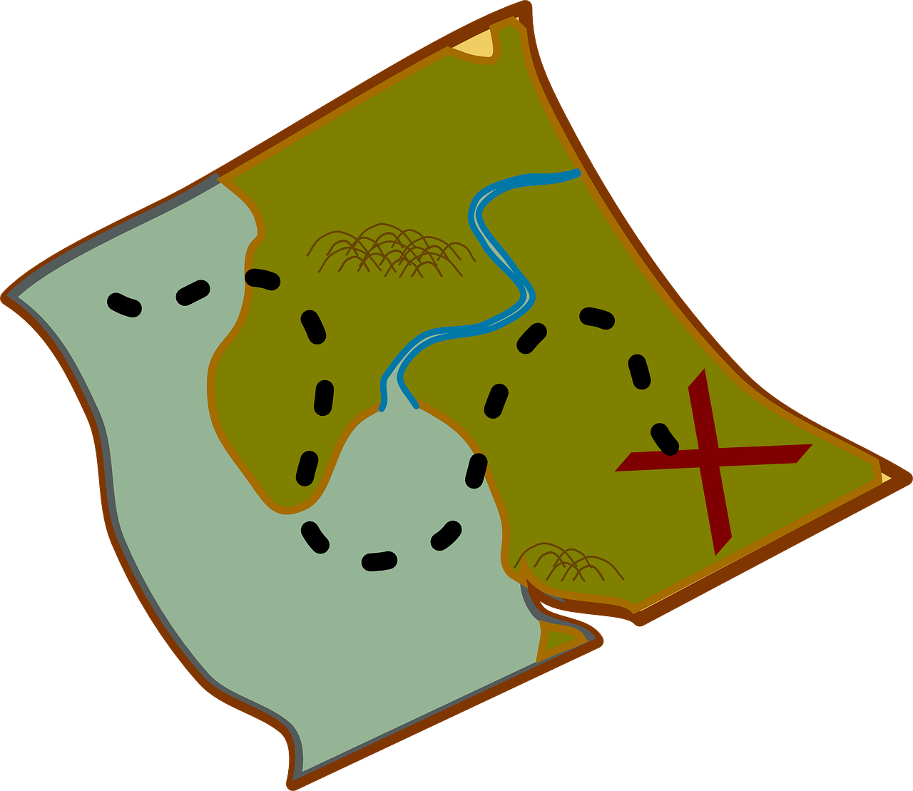 map showing route and x marks the spot