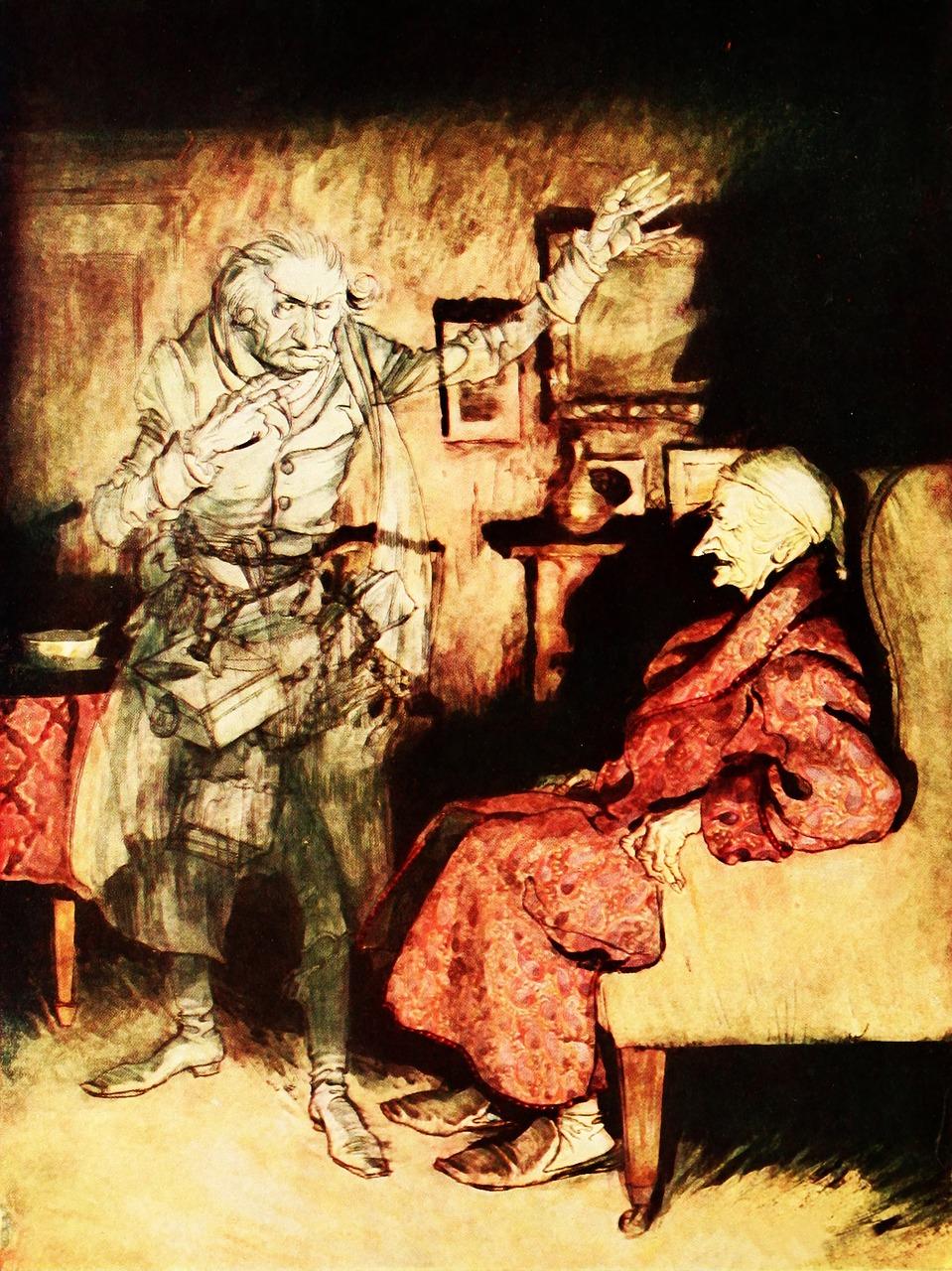 Scrooge meets Morley's ghost