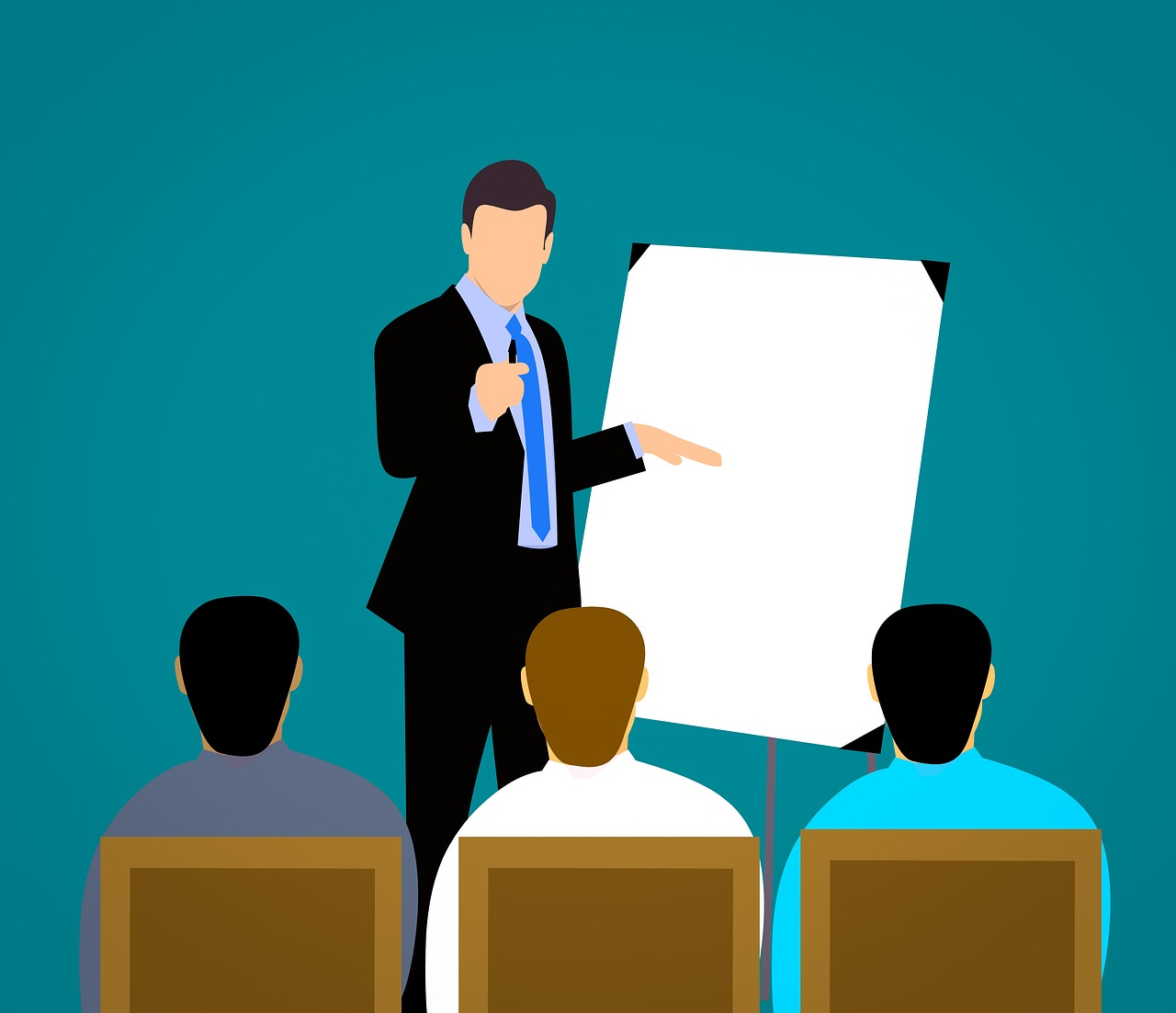 speaker with flipchart and audience